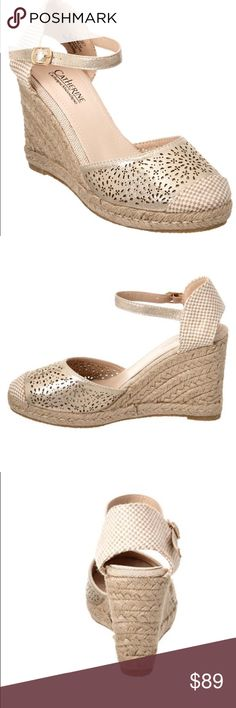 "Catherine Malandrino camilye espadrille wedge Gold metallic espadrille wedge sandals. - Round toe with woven tip - Laser cut detail - Adjustable side buckle strap closure - ~ 4"" heel - ~10.25"" insole. Materials: Manmade upper and sole. Catherine Malandrino Shoes Wedges"
