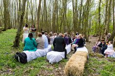 The first ever wedding ceremony conducted by a wedding celebrant in the bluebell woods at Jimmy's Farm, Suffolk. www.headoverheelsphotography.co.uk