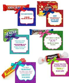 Printable Teacher Appreciation Candy Gift Tags- Glitter Favor Tags- Digital File- 6 tags - This listing is for faux (digital) glitter favor tags for your teacher! 6 tags, comes as a PDF file - Employee Appreciation Gifts, Teacher Appreciation Week, Teacher Assistant Gifts, Appreciation Note, Employee Gifts, Candy Quotes, Candy Sayings Gifts, Thank You Gifts, Thank You Ideas
