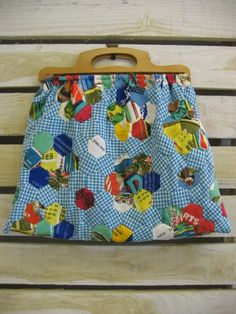Knitting Bag-upcycled patchwork from vintage TeaTowels