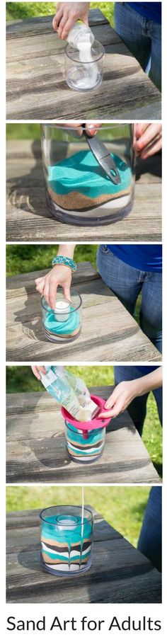 Create your own home decor accessories with colored sand and candles! This is a great DIY craft! Create your own home decor accessories with colored sand and candles! This is a great DIY craft! Sand Crafts, Diy Crafts, Home Decor Accessories, Decorative Accessories, Handmade Home Decor, Diy Home Decor, Sand Art Bottles, Crafts For Kids, Porta Velas