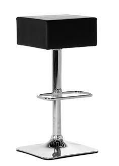 En höj- och sänkbar barstol i modern stil. Sits i konstläder och underrede  i kromad metall.