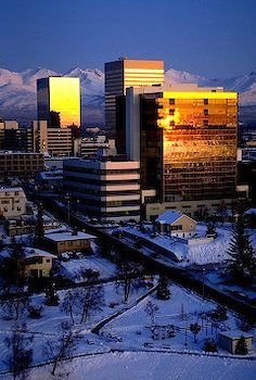 winter in downtown Anchorage, Alaska - my office was in the high rise at the far right.