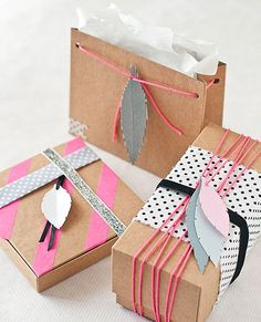 Opt for a modern paper feather as a holiday gift topper with this easy DIY.