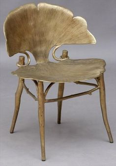 CLAUDE LALANNE (b. 1924)  'GINKGO' A PATINATED BRONZE SIDE CHAIR, DESIGNED 1996