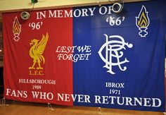 Banner from Glasgow Rangers supporters, victims of their own disaster in 1971 losing 66 fans. Rangers Football, Rangers Fc, Flag Football, Hillsborough Disaster, Liverpool Fc Website, Best Flags, Glasgow Scotland, Liverpool Football Club, Lest We Forget