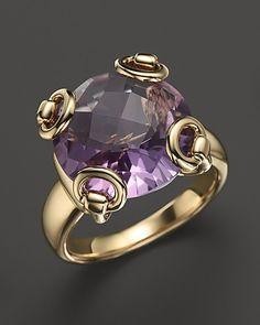 Gucci 18K Yellow Gold Amethyst Horsebit Cocktail Ring | Bloomingdale's