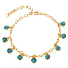 Amazon.com: Women Girls 18K Gold Plated Link Chain Turquoise Charm Bracelet: Jewelry