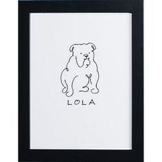 Personalized and Framed Dog Line Drawing