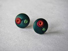 Green blue earrings, polymer clay stud earrings, brass earrings by DenadasHandmade on Etsy