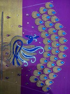 Simple Saree Blouse Designs, Peacock Blouse Designs, Black Blouse Designs, Peacock Embroidery Designs, Wedding Saree Blouse Designs, Stylish Blouse Design, Peacock Design, Mirror Work Blouse Design, Maggam Work Designs