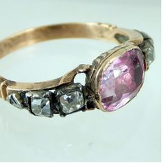 Ca 1760 high carat pink topaz ring with diamonds on the shoulder.Original condition. measurement of bezel:8 mm x 6.5 mm