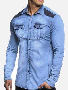 6e2a2ae349c9 Joozz™ Men's Denim Shirt Casual Fit Slim Shirt Denim Button Up, Button Up  Shirts