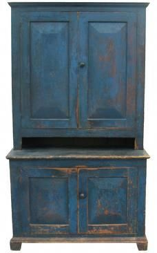 Early century New York State, Stepback Cupboard, with wonderful original blue paint Primitive Furniture, Country Furniture, Antique Furniture, Painted Furniture, Primitive Homes, Primitive Antiques, Country Primitive, Primitive Hutch, Country Cupboard