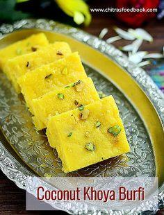Coconut khoya burfi recipe - Nariyal ki barfi with mawa - Holi special sweet recipe :)