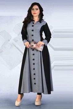 Rayon Party Wear Kurti In Grey Colour Churidar Designs, Kurti Neck Designs, Kurta Designs Women, Dress Neck Designs, Kurti Designs Party Wear, Blouse Designs, Party Wear Kurtis, Party Wear Dresses, Hijab Fashion