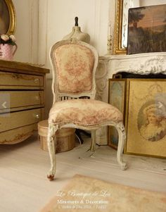Dollhouse French Castle   Shabby Chair Louis XV   Red Toile De Jouy And Gustavian  Grey   Furniture For A Dollhouse In Scale