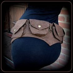 Festival pocket belt bag ~ vegan canvas utility belt with pockets ~ steampunk brass brown, black or purple canvas ~ men or women ~ cosplay