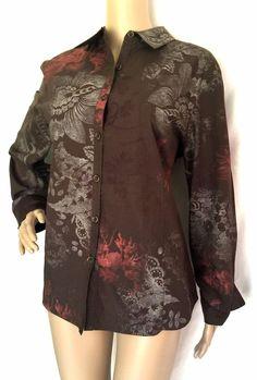 St. John Sport Brown Multi-color 100% Cotton Button Down Shirt - Size M - EUC #StJohnSport #ButtonDownShirt #Casual
