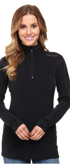 Hot Chillys Micro-Elite XT Zip-T (Black/Granite) Women's Long Sleeve Pullover - Hot Chillys, Micro-Elite XT Zip-T, HC9434, Apparel Top Long Sleeve Pullover, Long Sleeve Pullover, Top, Apparel, Clothes Clothing, Gift, - Street Fashion And Style Ideas