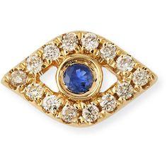Sydney Evan 14k Diamond Mini Evil Eye Single Stud Earring found on Polyvore featuring polyvore, women's fashion, jewelry, earrings, jewelry earrings, rose gold, 14 karat gold stud earrings, bezel set earrings, diamond earrings and diamond jewelry