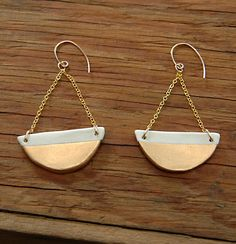 Porcelain White and Gold Half Circle Earrings