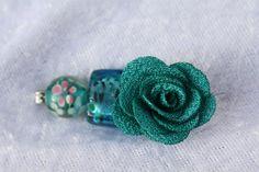 Tuchschließen - Schalring silber petrol Tuchnadel Brosche Blume  - ein Designerstück von trixies-zauberhafte-Welten bei DaWanda