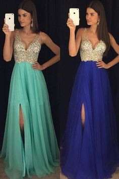 Outlet Popular Chiffon Sparkly Crystal Beaded V Neck Prom Dresses,Open Back Chiffon Prom Gowns,Evening Gowns With Left Slit Graduation Dresses Long, Open Back Prom Dresses, V Neck Prom Dresses, Prom Dresses 2017, Grad Dresses, Prom Gowns, Ball Dresses, Long Dresses, Party Dresses