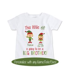 Custom Pregnancy Announcement t shirt Christmas elves by Exit17