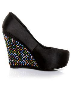 Privileged Gorgeous Black Rhinestone Platform Wedges!... wonder if Araceli will let me wear these in her wedding?! :)