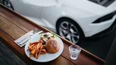 Lunch and the Lamborghini Huracán at The Blue Swimmer, Gerroa, NSW