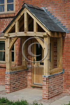 Browns Oak Beams and Cladding House Front Porch, Front Porch Design, Porch Roof, House Entrance, Entrance Doors, Front Doors, Porch Canopy, Door Canopy, Oak Cladding