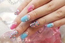 Colorful halfmoon manicure