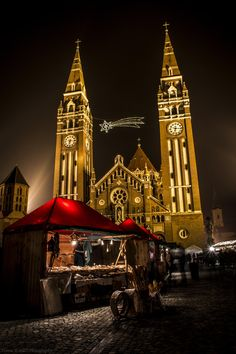 Christmas Fair Szeged , Hungary by Ferenc Kovács on Budapest, Big Ben, Beautiful Places, Europe, Cathedrals, Country, Building, Dads, Faith