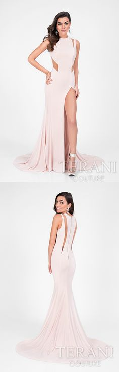 Stunning, draping gown featuring plunging cutouts from the shoulder blades to the lower back.  Style: 1713P2550  #PromDress #DesignerPromDress #SexyDress #CutOuts #17SS