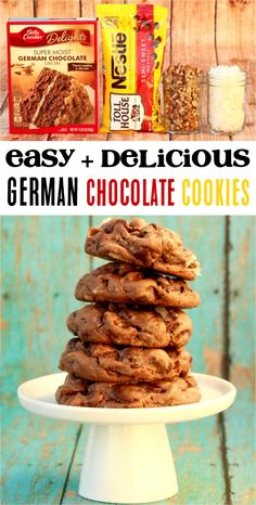 How to Make German Cookies! These cookies blend the perfect mix of softnes and crunch, sweetness and savory flavors. You'll keep wanting more and more of these delicious cake mix cookies! Easy German Chocolate Cake, Chocolate Cake Mix Recipes, Chocolate Cake Mix Cookies, Cake Mix Cookie Recipes, Chip Cookie Recipe, Brownie Cookies, Yummy Cookies, Cake Recipes, Betty Crocker German Chocolate Cake Recipe