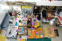 Art Journal workspace and supplies