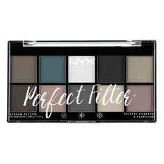 """The """"perfect"""" palette for you is NYX Cosmetics 'Perfect Filter Shadow Palette' in """"Gloomy Days"""" which consists of black, white, & grey neutrals. This palette includes matte, shimmer, and duochromatic finishes."""