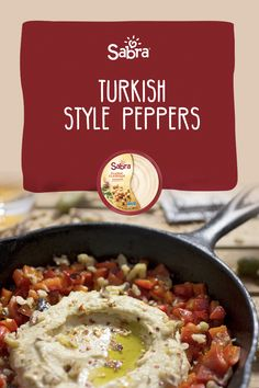 Toasted walnuts, roasted red peppers and pomegranate molasses combine with Sabra hummus to make this exquisite dish. Pomegranate Molasses, Turkish Fashion, Roasted Red Peppers, Hummus, Curry, Stuffed Peppers, Dishes, Ethnic Recipes, Food
