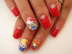 Hello Kitty nail art.