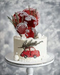 Christmas Cake Designs, Christmas Cake Decorations, Christmas Cupcakes, Christmas Sweets, Holiday Cakes, Christmas Baking, Winter Torte, Winter Cakes, New Year's Cake
