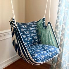 Excited to share this item from my shop: Hammock Chair Swing - Reading Chair - for Kids and Adults!This Hammock Swing Hanging Chair Premier Navy Arrows is just one of the custom, handmade pieces you'll find in our home & living shops. Hanging Swing Chair, Hammock Swing Chair, Swinging Chair, Diy Hammock, Hammocks, Rustic Furniture, Diy Furniture, Luxury Furniture, Furniture Removal