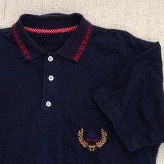 80s vintage burberry navy blue men polo shirt by ENGARLAND on Etsy