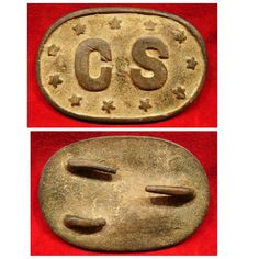 """Dug Confederate Enlisted Man's Belt Plate. This rare 11 Star CS Oval Belt Plate was dug near Huntsville, Alabama and is photographed on the cover of Steve Mullinax's """"Confederate Belt Buckles and Plates"""" Reference Book. The authenticity of this plate is beyond dispute and very good fakes of this type are out there floating around. Condition is excellent with a fantastic patina and all attachment hooks intact. Produced by Leech and Rigdon."""