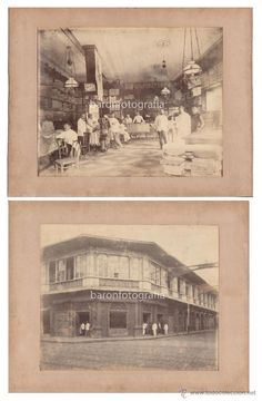 ESTABLECIMIENTO DE TEJIDOS DE JUAN SOLER, MANILA, FILIPINAS. 1880'S. 2 FOTOGRAFÍAS 22X26,5 CM. (Fotografía Antigua - Albúmina)