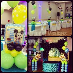 baby mickey mouse centerpiece for 1st birthday | party ideas
