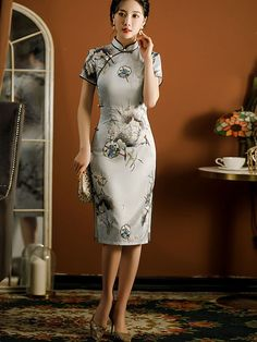 Mother's Floral Print Qipao / Cheongsam Dress