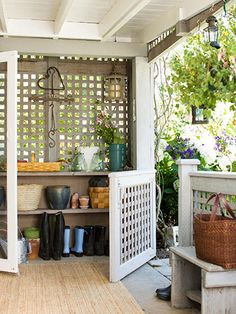 Garden Station: Don't forget about the transition between your home and garden. This partially enclosed space ensures that dirt, mud, boots, and gardening gear don't block a side entry or create a mess inside the house. A solid roof offers protection for the elements while a lattice peg wall and concrete make storage and cleaning a breeze.