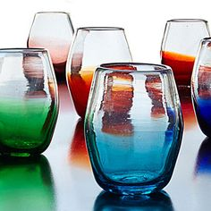 Multicolor Ombre Stemless Wine Glass Set | wine glasses | UncommonGoods