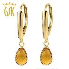 gemstoneking fine 2.50 ct 7x5mm briolette natural citrine 14k yellow gold earrings